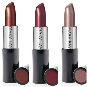 MARY KAY CREME LIPSTICK DISCONTINUED RARE DOWNTOWN BROWN, PINK SHIMMER, RED, NIB