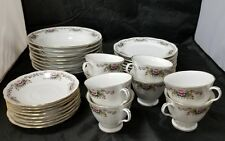 Chinese Fine Bone China Set of 32, 8 Each Soup Bowls, Cups, Saucers, Bread Plate