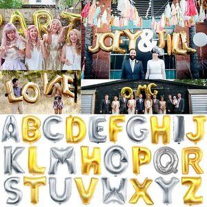 Mylar Foil Balloon Letters Alphabet Gold Silver for Wedding Birthday Party Decor