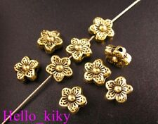 80pcs Antiqued gold plt flower spacer beads 9mm A15
