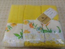 (6) Vintage Hand Towels May Flowers Yellow by Seven Seas Bath Kitchen Unopened