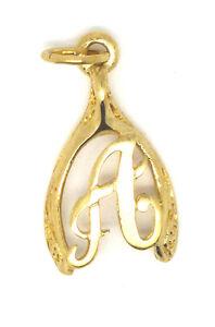 9ct Yellow Gold Wishbone Initial Charm / Pendant