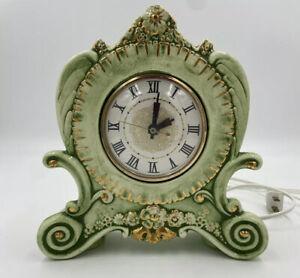 Vintage Mantel Clock Electric Lanshire Clock Movement Holland Mold Green Floral