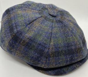 STETSON 55 WOOL / Cashmere BLEND BELFAST Glencheck Flat Bill Newsboy Cap Hat 8/4