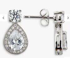 Ivory & Co. Limelight Teardrop Cubic Zirconia Pave Drop Earrings, Silver. Bridal