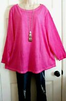 Lane Bryant NWT Dip Dyed Deep Pink Cotton Stretch Casual Top Plus 22/24 2X/3X