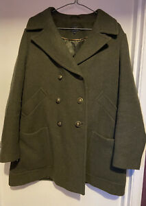 M&S Olive Green Gold Button Wool Mix Warm Outdoor Material Coat Pocket UK 18