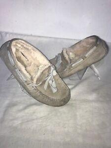 Ugg Australia Ladies Moccasins Grey Slipper Uk 4/4.5 Ref Ba1