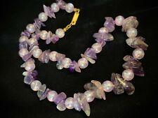 Vintage Miriam Haskell Purple Semi-Precious Amethyst Stone Chips Beaded Necklace