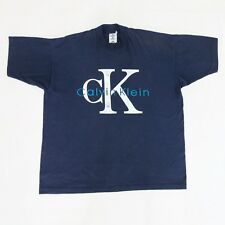 Vtg 90s Calvin Klein1 Jeans CK1 Logo Spell Out T Shirt Bootleg Urban Rap Tees XL