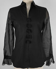 New Anne Fontaine sz 2 black blouse long sleeve top