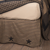 BLACK CHECK STAR King Bed Skirt Dust Ruffle Primitive Tan Farmhouse VHC Brands