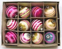 Vintage LOT Dozen Twelve Shiny Brite Striped Glass Ball Ornaments NICE!!
