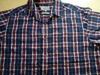 Mens M&S Check Short Sleeve Shirt Size Large Loose Fit
