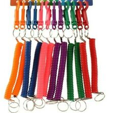 New Spiral Key Chain Retractable Clip On Ring Stretchy Elastic Spring Keyring