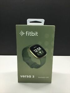 NEW SEALED Fitbit Versa 3 Smartwatch+GPS Heart Rate Soft Gold Case Olive Green