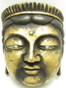 Vintage Carved Baddha Mask Black and Gold From Japan -A5