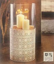 Windlicht Ornamente Jumbo-Windlicht Glas Deko Kerzenhalter Vase Metall weiß NEU
