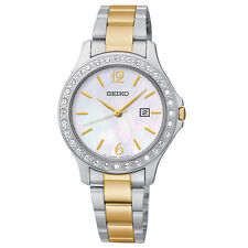 Seiko SXDF95 Women's Two-Tone Mother of Pearl Watch With Crystals Quartz Watch
