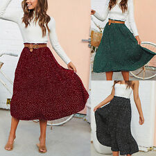 Women High Elastic Waist Pleated Long Skirt Ladies Polka Dots Print Maxi Dress