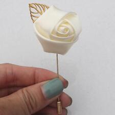 Rose Flower Groom Boutonniere Artificial Wedding Corsage Brooch For Best Man Diy