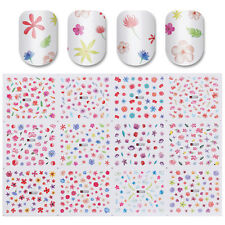 12Patterns Water Decal Nail Art Transfer Sticker Big Sheet Floral Tips Manicure