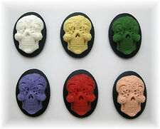 6 Goth Punk Emo Day of Dead (1 of each color) SUGAR SKULL 25mm x 18mm CAMEOS LOT