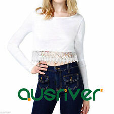 Unbranded Long Sleeve Cotton Blend Crop Tops for Women