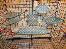 GRAY With AQUA SQUARES  Sugar Glider 6 pc cage set