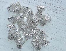 100 Metall Perlenkappen ca 6,5 x 8,5 mm filigran silberfarben A1081