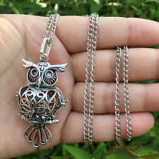 Fashion Owl Pendant Long Chain Locket Necklace Fragrance Essential Oil Diffuser