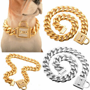 Strong Metal Dog Collar Stainless Steel Training Dog Chain Collar for Large Dogs