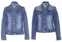 Womens Ladies Denim Jacket Vintage Style Washed Detail Blue Size S-5XL