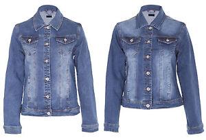 Womens Ladies Denim Vintage Style Washed Detail Jacket Denim Blue Size S-5XL