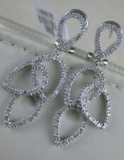 MODERN PAVE DIAMOND 14KT W GOLD HANGING HALO PEARS CHANDELIER EARRINGS E40748WP2