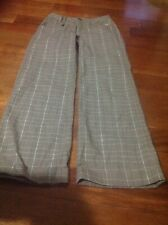 New Justice girl brown plaid pull up dress pant size:12reg
