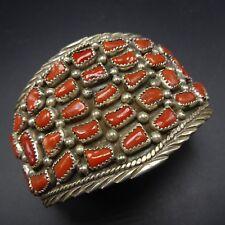 Extra Wide Vintage NAVAJO Sterling Silver BRANCH CORAL Cluster Cuff BRACELET 51g