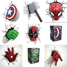 Marvel Avengers 3D Deco Wall Light Spiderman Thor Hulk  Captain America Iron Man