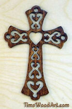"Gods Love Cross, ""fancy"" Wood Cross, for Wall Hanging or Ornament, Item S5-2"