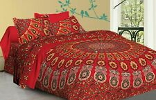 Indian Red Peacock Mandala Bedding Set 100% Cotton Quilt Duvet Doona Cover Bed