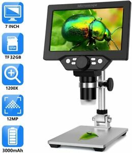 """Top Rechargeable Microscope 1200X 1080P 7"""" LCD 12MP Magnifier Camera+32GB Tool~"""