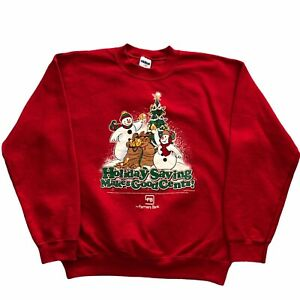 Vintage 90s Christmas Graphic Sweatshirt Red Crewneck Size M