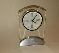 HOWARD MILLER: GLASS-ALUMINUM ALARM TRIBECA TABLE DESKTOP CLOCK- ENGRAVED 20 YRS