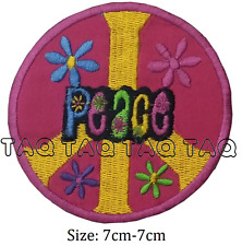 peace symbol pink flowers sign iron on patch rainbow colours badge  #132