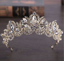 Women Gold Rhinestone Crystal Wedding Bride Party Hair Headband Crown Tiara