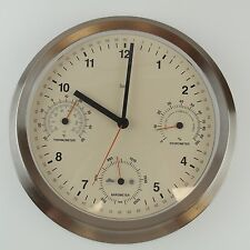 Bai Brushed Stainless Steel Weather Station Wall Clock: Industrial Barometer ect