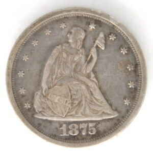 1875 S Liberty Seated 20 Cent Silver US Coin San Francisco High Grade Luster
