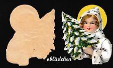 Mädchen Im Bogen Mit Steg Lithographiert #e958 Geprägt 4x Alte Oblate