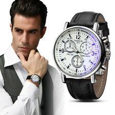 Mens Luxury Blue Ray Glass Leather Band Charm Quartz Analog Watches US