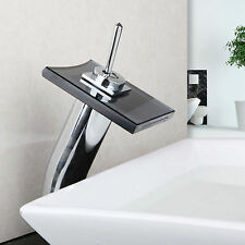 Modern Mixer Tap High-brightness Glass Waterfall Bathroom Basin Sink Faucet bath
